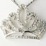 Princess Tiara Girl Birthday Crown Clear Crystal Rhinestone Pendant Necklace:Amazon:Jewelry