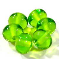 Shiny Beads Handmade Lampwork Glass Bead Transparent Dark Grass Green