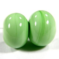 Handmade Glass Beads Grasshopper Green Lampwork Beads Glossy Shiny SRA