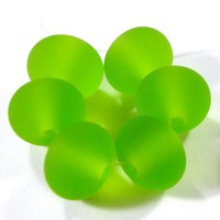 Handmade Beads Etched Beads Lampwork Beads Sea Glass Dark Grass Green