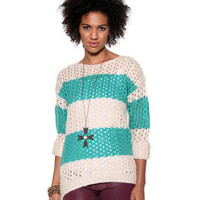 DJPremium.com - Women - Shop by Department - Sweaters - Open Stitch Striped Sweater
