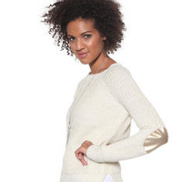 DJPremium.com - Women - Shop by Department - Sweaters - Scoopneck Lurex Sweater w/ Elbow Patch
