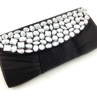 black satin clutch - satin clutch clear rhinestones evening clutch handbags, bridesmaids, prom, gift or for you