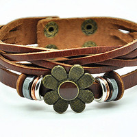 Women leather bracelet flower pendant brown Leather bracelet Charm Bracelet  high quality bracelet  RZ0241