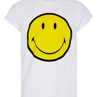 White Smiley Hi Roll T-shirt - T-shirts & Vests - New In - TOPMAN