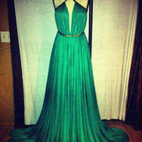 Fashion Sexy floor-length green Prom Dress