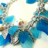 Blue Glass Leaves White Lampwork Beaded Silver Chain Bracelet | dianesdangles - Jewelry on ArtFire