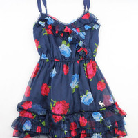 Abercrombie & Fitch Navy Floral Sun Dress - Misses Large