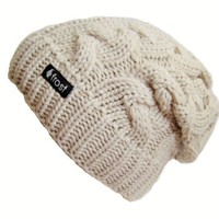 Frost Hats Winter Hat for Women BEIGE Slouchy Beanie Cable Hat Knitted Winter Hat Frost Hats One Size Beige
