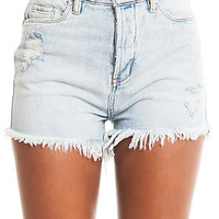 Blank NYC Denim Cutoff Short Hi-Rise Distressed in White