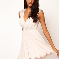 Lipsy VIP Embellished Shoulder Prom Dress at asos.com