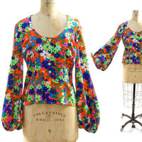 60s Bell Sleeve Neon Floral Blouse by nickiefrye on Etsy