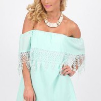 Mint Off the Shoulder Dress with Layered Lace Top Detail