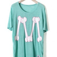 Teal Bone Print T-shirt