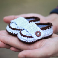 Lil&#x27; Man Loafers Crochet Baby Booties by GiggledPink