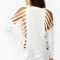 Deep Cut Knit - White