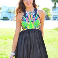 Black High Neck Dress with Bright Print Top &amp; Pleated Skirt