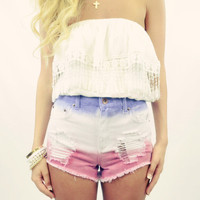Santa Ana Breeze Pink &amp; Purple Dip Dye Jean Shorts