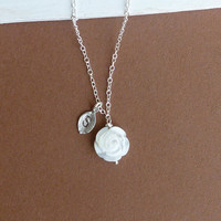 White Carved Mother of Pearl Rose Necklace with Hand Stamped Initial Leaf on Sterling Silver Chain