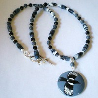 Flying Magpie Necklace Hand Painted with Black Onyx Blue Sponge Coral