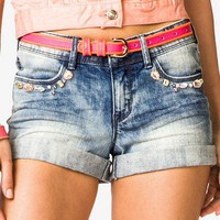 Bejeweled Denim Shorts | FOREVER 21 - 2038396686