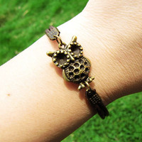 Two Brown Leathers Ancient Bronze owl Chain Women by braceletcool