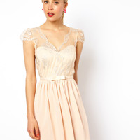 ASOS Chiffon Skater Dress With Metallic Lace Wrap Top