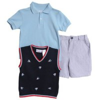 BT Kids Infant Baby Boys 3 Piece Navy Sweater Vest Polo Shirt Blue Shorts Set:Amazon:Clothing