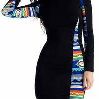 tribal inset long sleeve dress $18.40 in BLUE CORAL - Tribal | GoJane.com