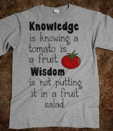 Knowledge is knowing a tomato is a fruit. Wisdom is not putting it in a fruit salad.  - Shirts 706 - Skreened T-shirts, Organic Shirts, Hoodies, Kids Tees, Baby One-Pieces and Tote Bags