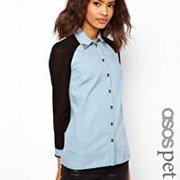 ASOS PETITE Exclusive Denim Shirt With Sheer Panels And Studded Collar at asos.com