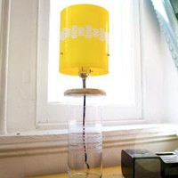 Upcycled Etched Vase Lamp with Yellow Embellished by StaciMaloney