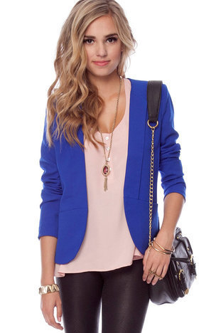 Gatsby Blazer in Royal Blue :: tobi