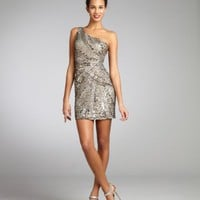 Wyatt silver and gold sequin silk one shoulder party dress | BLUEFLY up to 70 off designer brands