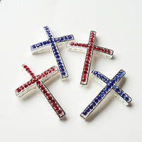 Silver Sideways  Cross Bracelet Connector With Red Blue Rhinestone (1) Piece, 4th Of July