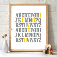 8x10 ABC Print I love you Alphabet Love Typography by 2142stuart