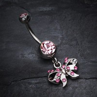 Twinkling Bow Belly Button Ring