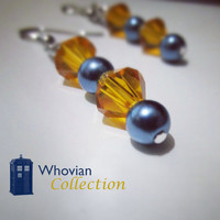 Whovian Collection - Tardis inspired blue and gold dangle earrings