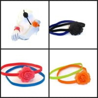 Two Elastic Spring Headband Summer Neon Colors One plain one with sparkling flower