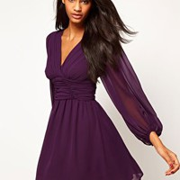 ASOS Skater Dress With Blouson Sleeves at asos.com
