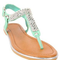 t-strap sandal with mesh and stones - 1000042303 - debshops.com