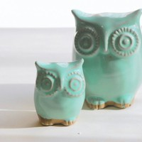 Mint green owl and owlet mother and child home decor | claylicious - Ceramics &amp; Pottery on ArtFire