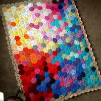 "BabyLove Brand Geometric Lace Blanket/Afghan, handmade crochet beautiful color/size throw Twin Bed - custom order - 49""x64"""