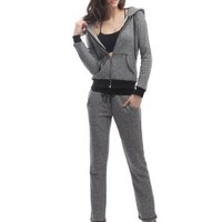 Doublju Womens Hood Sweatshirt &amp; Pants Set with Stitch Point:Amazon:Clothing