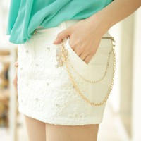 Rhinestone Skull White Elastic Skirt