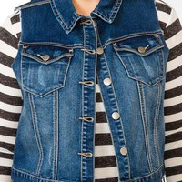 Distressed Denim Vest | FOREVER 21 - 2008586024