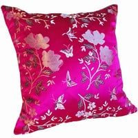 Silvery White and Fushia Pink Decorative by PillowThrowDecor