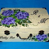 Wedding Card Box Wedding Keepsake Box Wood Wedding Card Boxes Personalized Hand Painted