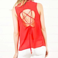 Red Studded Star Open Back Blouse and Shop Tops at MakeMeChic.com