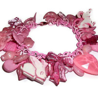 Pink Charm Bracelet  Kawaii Plastic by KitschBitchJewellery